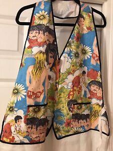 Vintage Beatles Elvis Graphic Apron Rare Fabric Hawaiian Handmade Crisp B10