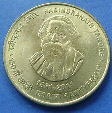 India  - 5 rupees 2011 (calcutta) Rabindranath Tagore - KM# 393 - nice!