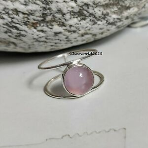 Rose Quartz Band Ring 925 Sterling Silver Plated Handmade Ring Size 10.5 JP351