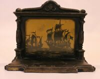 Antique Cast Iron Doorstop Bookend Statue Sailing Ships Mantal Old Victorian VTG