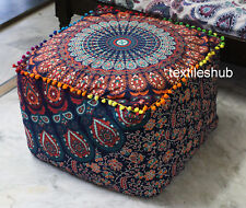 "New 22"" Square Indian Mandala Ottoman Pouf Cover Footstool Home Decorative Case"
