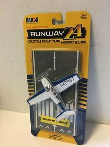 Runway 24 Beachcraft Bonanza Private Plane Diecast Airplane w/ Airport Track