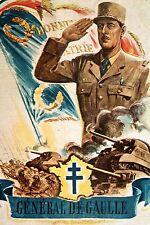 WW2 - Affiche : Le Général de Gaulle, chef de la France Libre