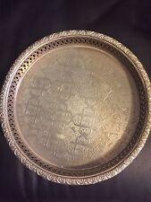 "Moroccan Silver Tea Tray Engraved Arabic Pattern Design 10.5"" Dia."