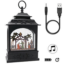 Musical Snow Globe Lighted Swirling Water  Glittering Lantern,Palm Tree