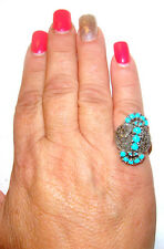 TAXCO Mexico .925 Sterling Silver Unique Turquoise Ring with Marcasite Size 7.5