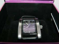 PETERWERTH Men's Steel Finish Rectangle Purple dial Black Leather Strap Watch