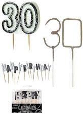Kerze 30. Geburtstag schwarz/weiß Wunderkerze 30 Kerzen Happy Birthday