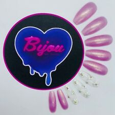20 Set Pink Sparkle Flower Hand Painted Press On Fake False Nails Glue Glitter