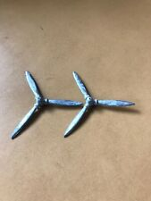 Vintage Chrome Metal Airplane Ashtray Propellers Lot Of 2