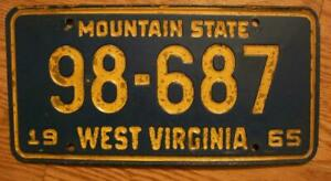 SINGLE WEST VIRGINIA LICENSE PLATE - 1965 - 98-687 - MOUNTAIN STATE