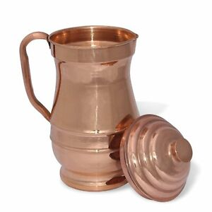 New Pure Copper Jug 2000 ML Water Storage Pitcher For Health Benefit Ayurveda