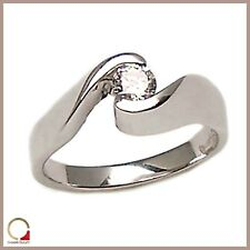 Solitaire Ring Women's For Engagement White Gold 18kt with Diamond