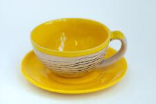Ceramic Yellow Tea Set Mug Saucer Stripes Pattern Handmade Pottery Unique