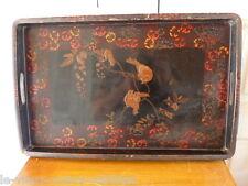 Plateau en bois décor oiseaux L 45 larg 39 H 3 cm