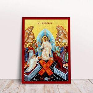 Jesus Resurrection byzantine orthodox icon handmade