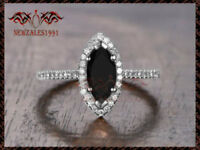 2CT Marquise-Cut Black Diamond Halo Engagement Ring 10K Solid White Gold Finish