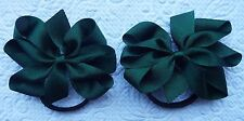 "2 FOREST GREEN 3"" BOWS GIRLS UNIFORM GROSGRAIN BERISFORDS RIBBON HAIR BOBBLES"