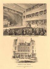 LITTLE THEATRE, HAYMARKET. Interior & exterior/front views. London West End 1834
