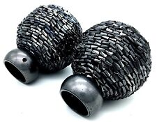 Beaded Finials For 28mm Curtain Pole Pewter Ball Graphite Beads Finial (287)