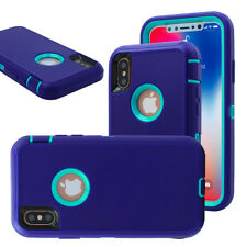 iPhone X 8 7 6s Plus Hybrid Hard Case Shockproof Tough Armor Rugged Rubber Cover for iPhone 5 5s SE Light Blue Purple
