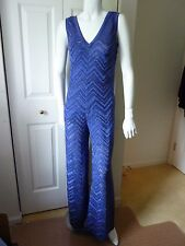 M Missoni  Blue Metallic Knit Jumpsuit  SZ:IT40--4US  NWT