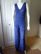 M Missoni  Blue Metallic Knit Jumpsuit  SZ:IT40--4US  NWT