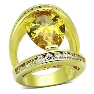 Flashy Topaz Teardrop Huge Gold CZ Cocktail Statement Ring