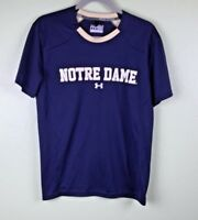Under Armour Womens Small Loose Heat Gear Short Sleeve Top-Navy/Norte Dame-Sz S