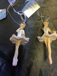 2 x Gisela Graham Elegant Ballerina Christmas Tree Hanging Decorations  - 165