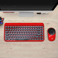 Cute Red Retro Style Round Key Compact Wireless Keyboard and Mouse Combo