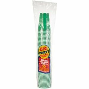 50 x American 16oz Plastic Green Party Cups (Beer Pong) - Disposable