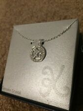 "NIB Kohls Genuine Crystal Circular Letter K Fine Jewelry Necklace 18"" MSRP$60"