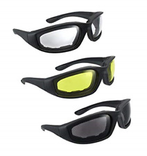 3 Pair Harley Bike Motorcycle Riding Glasses Padded Clear Yellow Wind Sunglasses