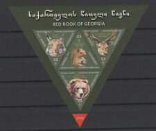 GEORGIA 2018 RED BOOK WILD ANIMALS CATS BEAR LYNX SQUARREL DEER FAUNA STAMPS MNH