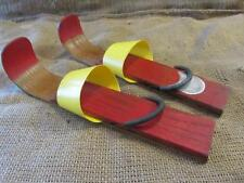 Vintage Wood & Plastic Snow Skis Childs > Antique Skiing Skate Old Skating 9705