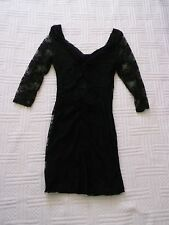 Drama Queen     size 8     black SHORT  SOFT LACE  BODYCON  DRESS     3/4 sleeve