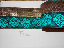 10cm gold teal rose jacquard embroidered ribbon lace applique trimming