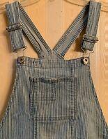 Jordache Girls Denim Bib Overalls Size XL 14/16 Pin Striped Roll Cuff Blue/White