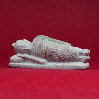 Bouddha Marbre Allongée Figurine Bouddhisme Nepal Sculpté Artisanat Statuette 02