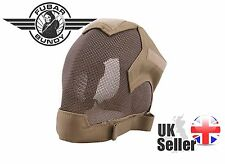 V6 ULTIMATE AIRSOFT FULL FACE METAL MESH MASK ADJUSTABLE STRAPS - Tan