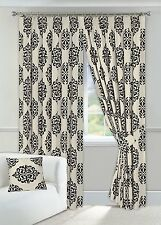 "Black & Cream Curtains Readymade 90"" x 90"" Pencil Pleated Fully Lined Tiebacks"