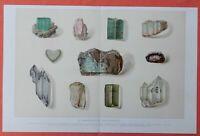 EDELSTEINE Turmalin Opal Amethyst  Smaragd  LITHOGRAPHIE von 1912  Gems