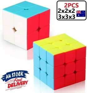 2pcs Magic Cube Rubix Rubik Puzzle Super Smooth Fast Speed Cube Kid Toys Gift AU