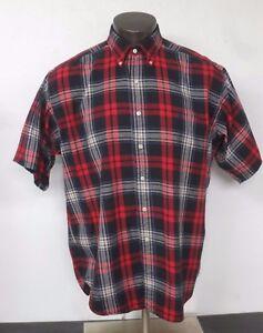 Polo Ralph Lauren Blaire Short Sleeve Button Front Shirt Red Plaid Cotton Size L