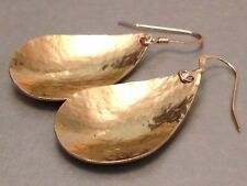 Beautiful Hammered Teardrop Golden Copper & 14ct Rolled Gold Earrings