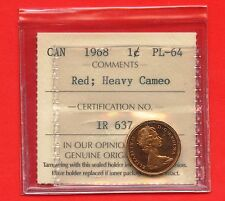 """1968 Canada 1 Cent Coin ICCS Graded PL64 # IR 637 """" Red Heavy Cameo """""""