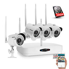 ANNKE 500GB HDD Wireless 720P Home Surveillance 4CH NVR Security Cameras System