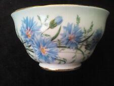 Sugar bowl, Royal Vale bone china, with cornflowers, gilded, 1960s vintage