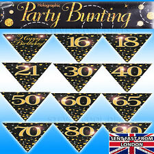 Birthday Party Bunting Black Gold Fizz Banner Age 16 18 21 30 40 50 60 70 80 90